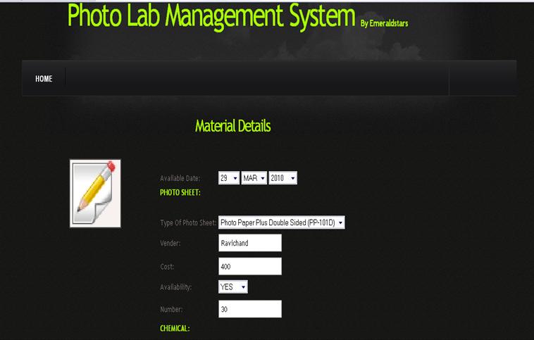 Photo Lab Management System - Materials Details
