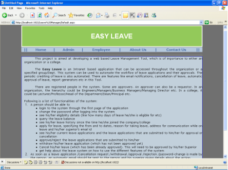 Employee Leave Management System in ASP.NET - Home Page