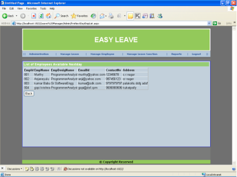 Employee Leave Management System - List of Employees Available Nextday