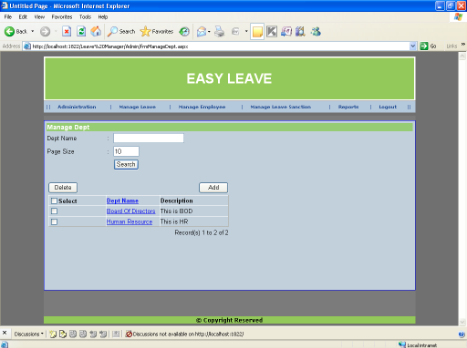 Employee Leave Management System -  Manage Department