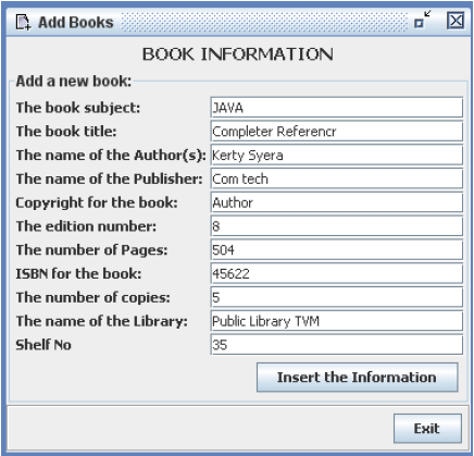 Library Management System in Java - Add New Books