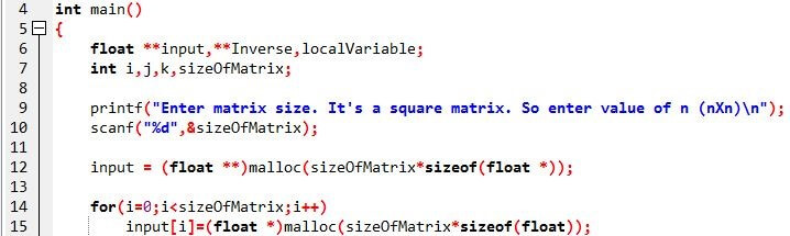 C program: Gauss Jordon Method to find inverse of a Matrix
