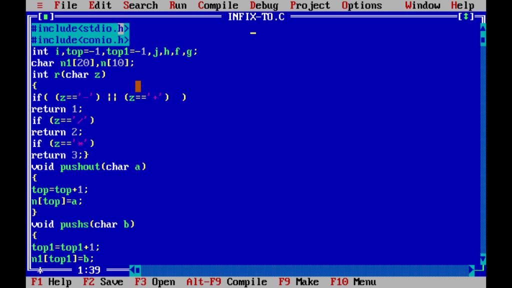 C Program: Infix Expression to a Postfix Conversion