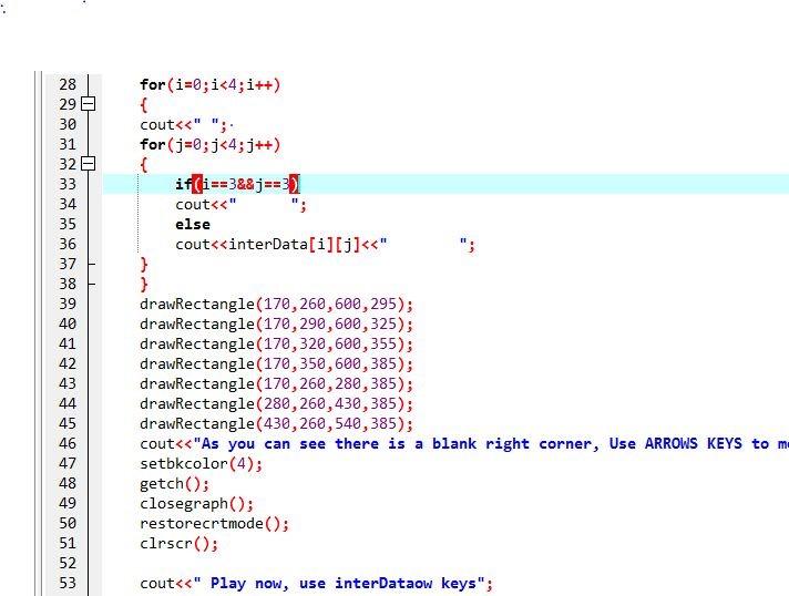 C++ Program: Puzzle Game on Turbo-C++