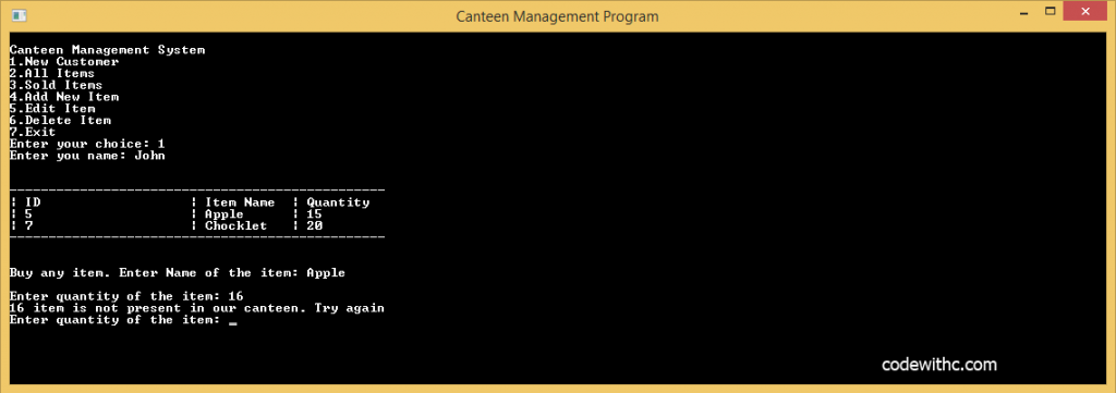 C++ Program: Canteen Management System in C++ and MySQL Btech MCA