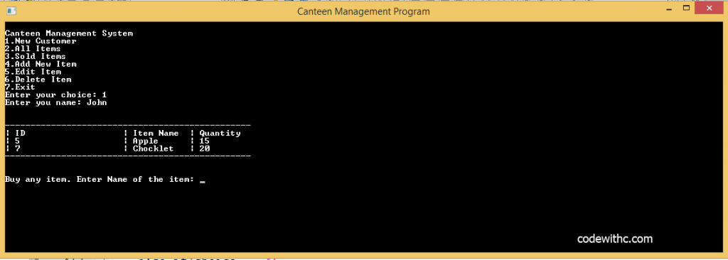Btech MCA C++ Program: Canteen Management System in C++ and MySQL