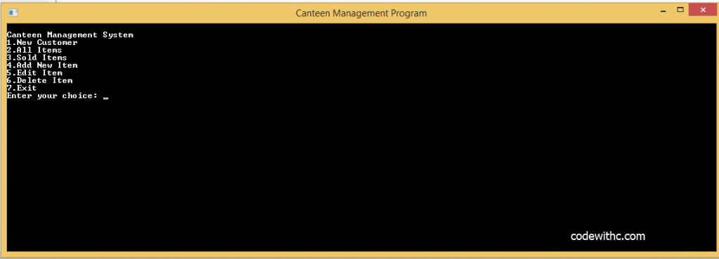 C++ Program: Canteen Management System in C++ and MySQL | Code with C