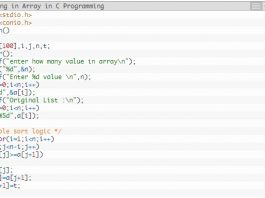 bubble-sorting-in-array-in-c-programming