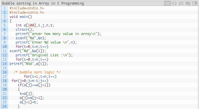 Bubble Sorting in Array in C Programming